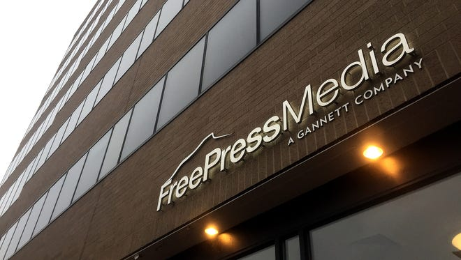 The Free Press Media and Burlington Free Press offices at 100 Bank Street in Burlington, Vermont.
