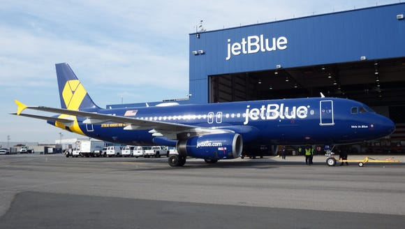 JetBlue's 'Vets in Blue' Airbus A320 is seen at the