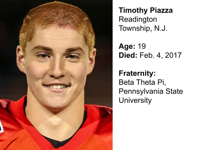 Timothy Piazza, 19, of Readington Township, N.J., died