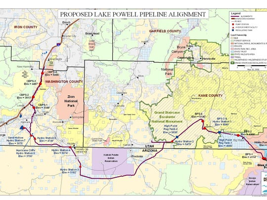 The Lake Powell Pipeline is planned to take 86,000 acre feet of Colorado River water 138 miles to Sand Hollow Reservoir in Hurricane.