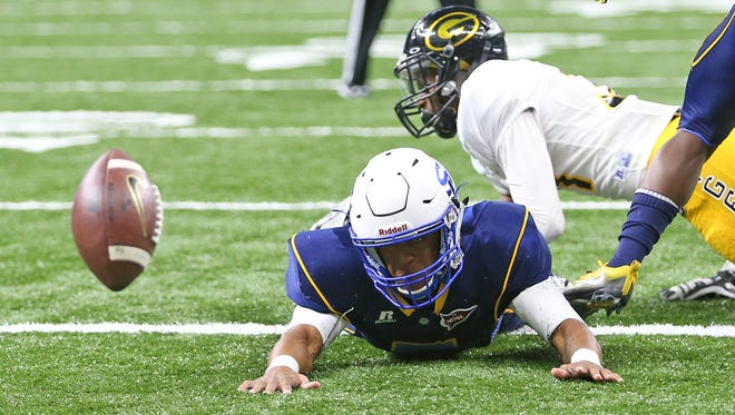 Southern University Jaguars quarterback Austin Howard (7) watches his fumble go out of the end zone for a first quarter turnover during the 43rd Bayou Classic between the Southern University Jaguars and the Grambling State Tigers at the Superdome on Saturday, November 26, 2016. (Photo by Michael DeMocker, NOLA.com | The Times-Picayune)