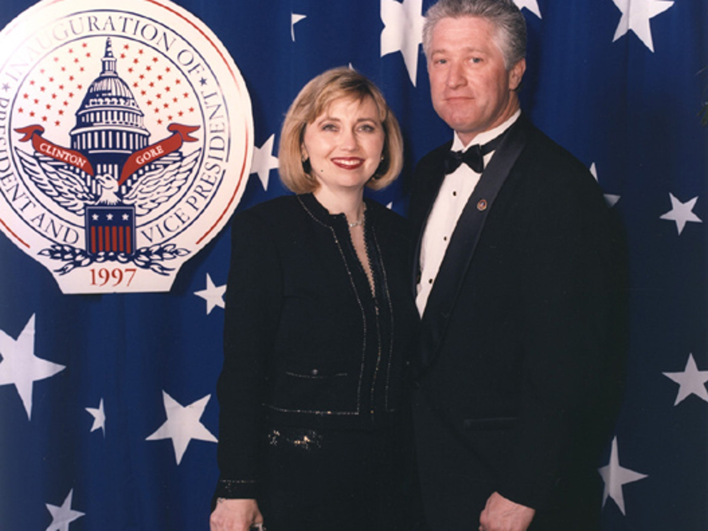 Teresa Barnwell and Pat Rick, who are Hillary and Bill Clinton impersonators, are pictured here at the California Ball in Washington, D.C. after Bill Clinton's 1997 inauguration.
