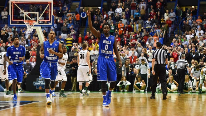 Middle Tennessee celebrates after their defeat of Michigan State in the 2016 NCAA tournament.