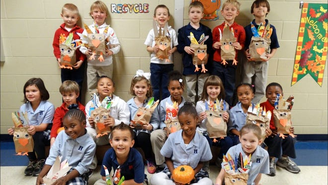 """Don't be a turkey! Recycle!"" was the message Harding Academy students learned from their social studies unit on ""Reduce, Reuse, Recycle."" The elementary students made turkeys for Thanksgiving, using recycled items."