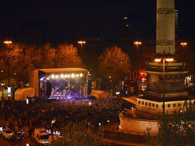 A rock concert in Place de la Bastille in Paris.