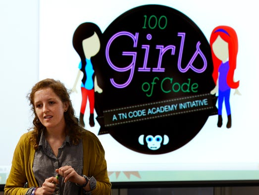 Girls of Code lead instructor Katy Campen explains what will be taught during the workshop on June 16, 2014, in Nashville. The workshop aims to raise awareness in girls ages 12 to 18 about careers in computer science, and includes an introduction to computer programming, website construction and code writing.