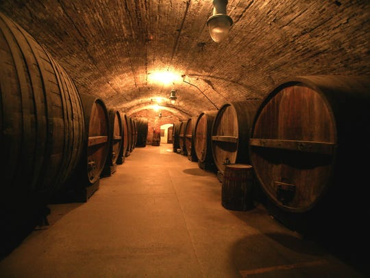 Barrels that were formerly used as the champagne and sherry vault are shown at Brotherhood Winery.