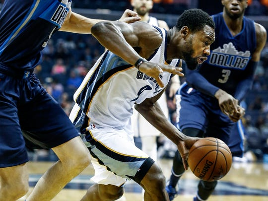 Memphis Grizzlies guard Tony Allen (right) drives for