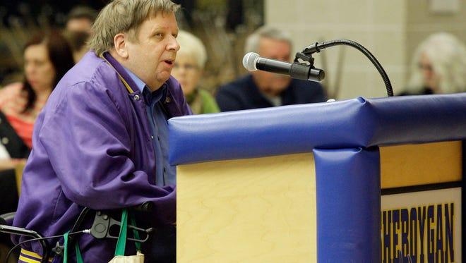 Scott Lewandoske spoke Tuesday February 24, 2015 at Sheboygan North.