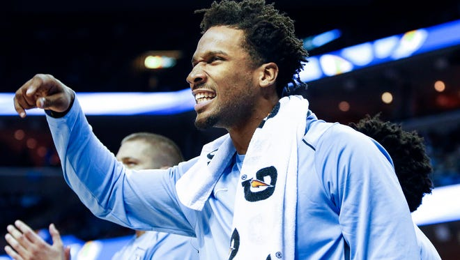 Memphis Grizzlies' Wayne Selden celebrates on the bench during action against the Orlando Magic at the FedExForum in Memphis, Tenn., Monday, October 2, 2017.