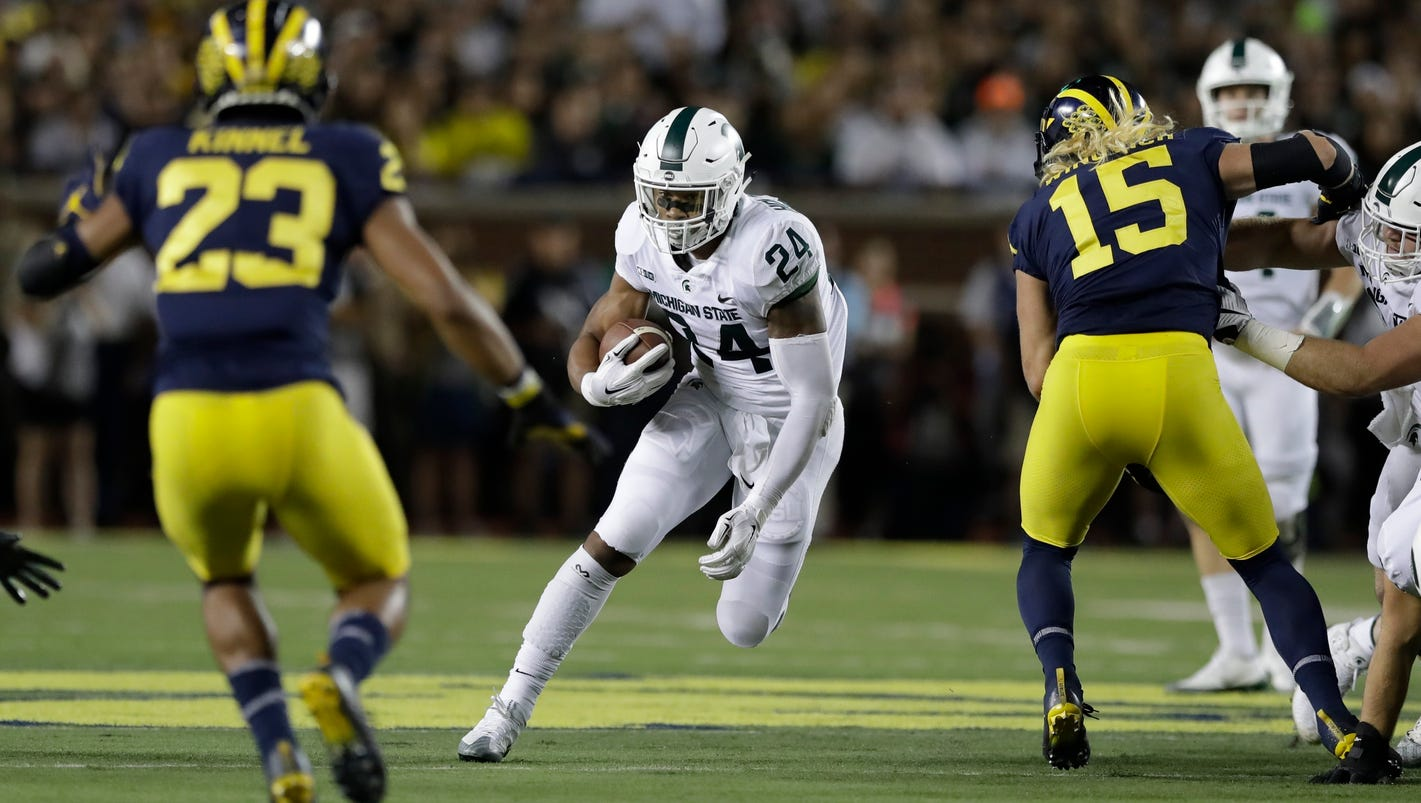 Michigan State outgains Michigan in rushing yards - hence, wins game