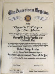 This proclamation lists Mike Kessler as the 1988 Baseball Player of the Year by the American Legion.