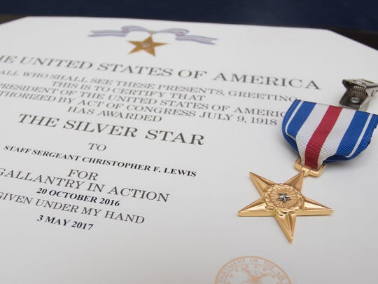 The Silver Star was awarded to Staff Sgt. Christopher Lewis for Gallantry in Action on October 20, 2016 during a ceremony at Hurlburt Field in Florida on Friday, January 19, 2018.
