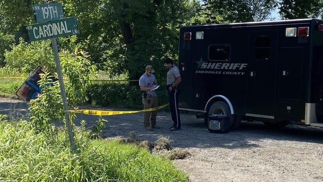 Cherokee County sheriff's deputies were investigating a double homicide Sunday at a rural location near Northwest 19th Street and Cardinal Lane. -- COURTESY PHOTO