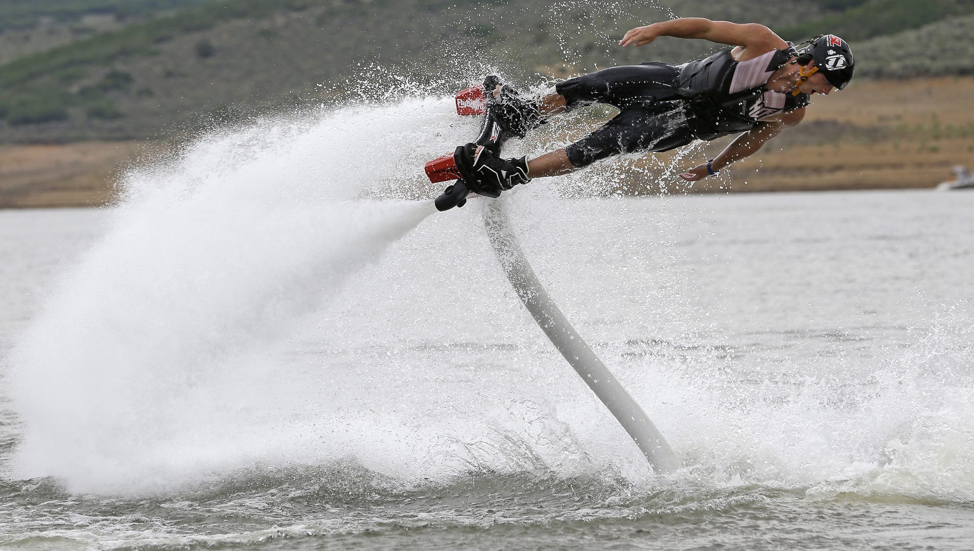 Chase Shaw, an instructor with Rocky Mountain Flyboard, demonstrates his technique.