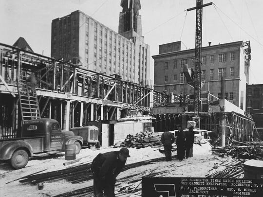 John P. Pike & Son Inc. crews work on the first major expansion of the building, circa 1950.