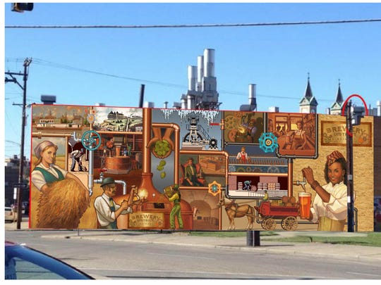 A mock-up of The Brewery District mural.