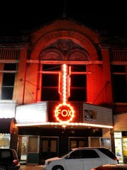 The marquee at the Fox Theater lights up its surroundings Thursday evening January 20, 2011.