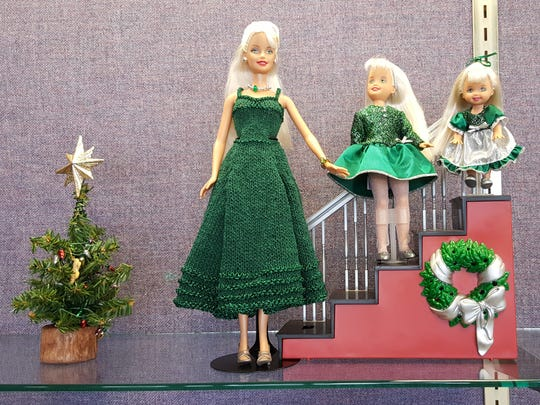 """Maribeth Regnier's """"Oh, You Beautiful Doll,"""" collection features hand-knitted designs by Regnier. The 200-doll collection is on display at the Brighton Library, 100 Library Drive in Brighton, through Jan. 6."""