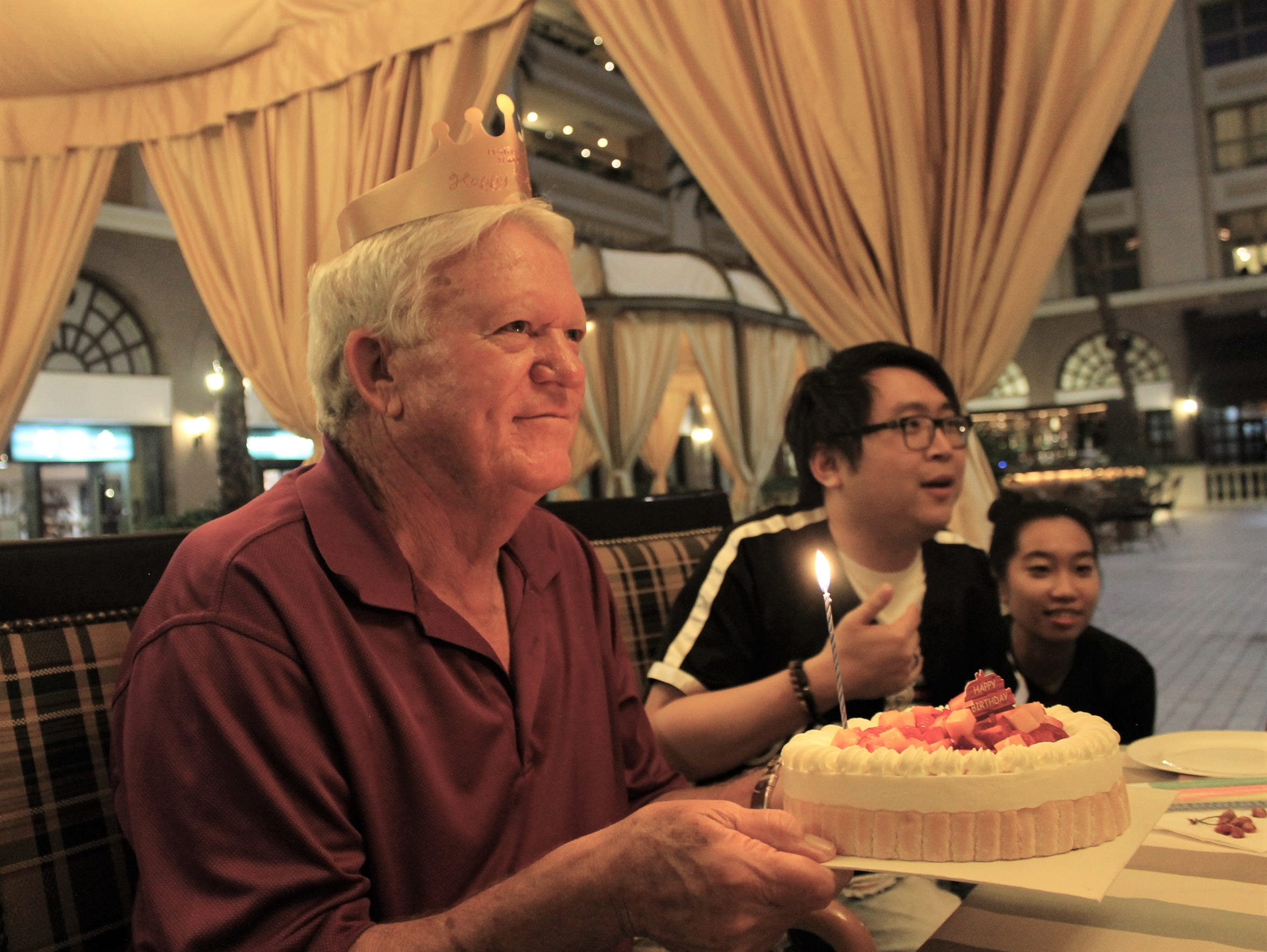 It was a sweet gesture, if not a sweet cake - more like pound cake, with fruit inside - that Melvin Martin received on his 71st birthday May 31 while in China.