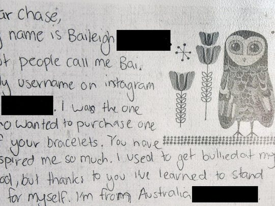 A letter written to Chase Marvil from a bullying victim in Australia.