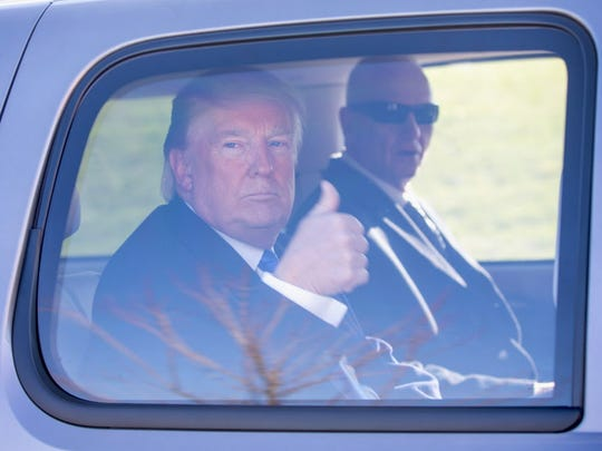 Republican presidential candidate Donald Trump leaves