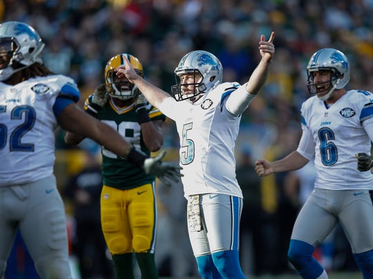 Kicker Matt Prater of the Detroit Lions reacts after