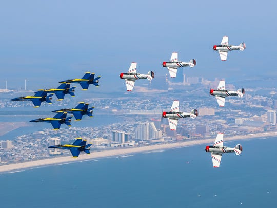 The GEICO Skytypers team is shown in a joint formation flight with the Blue Angels in 2015 over Atlantic City. Both acts will be featured at the 2017 Ocean City Air Show.