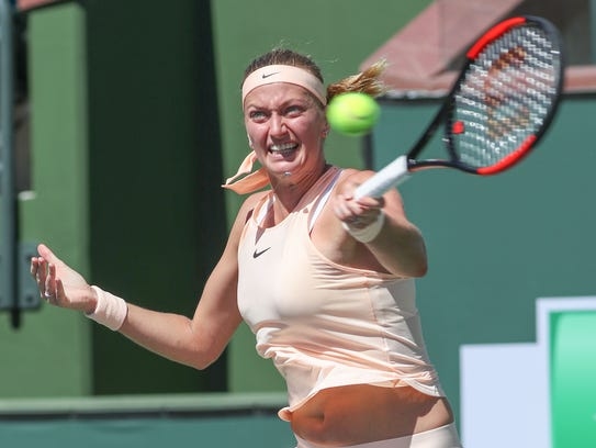 Petra Kvitova hits during her win over Yulia Putintseva