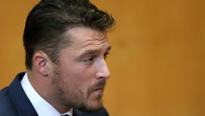 Chris Soulesappears for a hearing in Buchanan County District Court with his lawyer Robert Montgomery Thursday, Sept. 14, 2017, in Independence, Iowa. Reality TV star Soules is charged with leaving the scene in a fatal April crash near Aurora, Iowa.