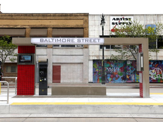 The Baltimore Street station for the QLine on Woodward.