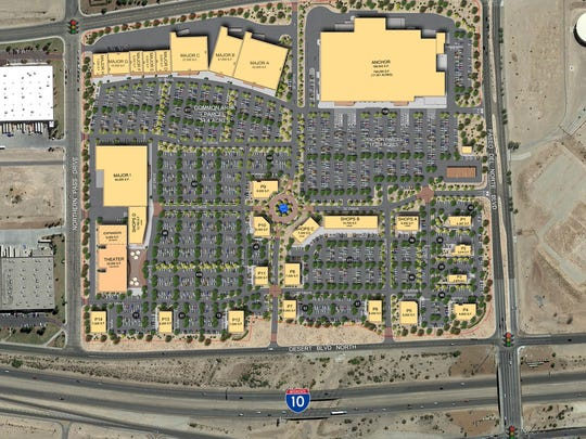 This shows how West Towne Marketplace will be laid out. It will have supermarket, sporting goods, and movie theater anchors.
