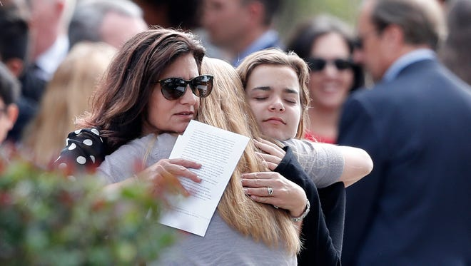 At the funeral of a victim of the Florida shooting, in Coral Springs, Fla., on Feb. 19, 2018.