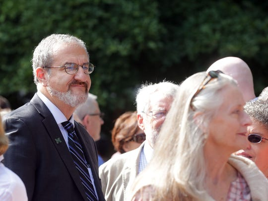 University of Michigan President Mark Schlissel appears at an Oct. 4 rally held to take a stand against hate and racism. Conservative students claim the administration has taken an anti-Donald Trump stance.