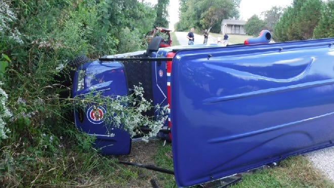A golf cart overturned in Vanderburgh County on Monday. The crash injured four people, two of them seriously.