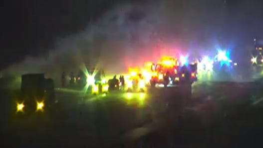 Crash and fire involving a tractor-trailer closed southbound lanes on I-95 April 6, 2017.