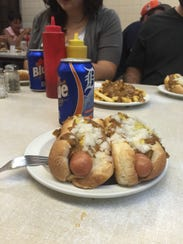 An Oklahoman has his first meal at Lafayette Coney