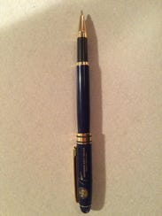 John Fischer's pen, which he said Gov. Scott Walker