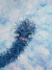 This whimsical blue ostrich is among works by Vicki