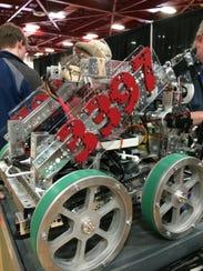 Rot 3B-The robot's aluminum wheels were specially made by Hazelett Strip-Cas