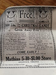 A 1930 newspaper advertisement for Mathias dime store