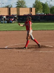 Oak Harbor's Ashley Riley throws a pitch during a sectional