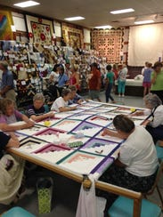 In the quilting barn at the Kutztown Folk Festival,
