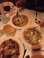 Pasta dishes at Rosalie's Cucina in Skaneateles, from