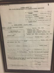 Judith Clark's commitment papers, signed in 1983, sent