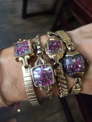 Ruby bands with 14 karat rolled gold by Marisa Lombardo.