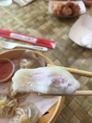 Mochi with taro-flavored frozen yogurt filling at Dumpling