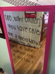 One of the girls at Ashley House wrote this message
