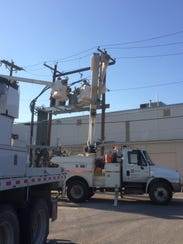 AEP crews are busy working in downtown San Angelo today.