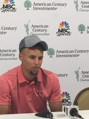 Steph Curry speaks the media Thursday at Edgewood Tahoe